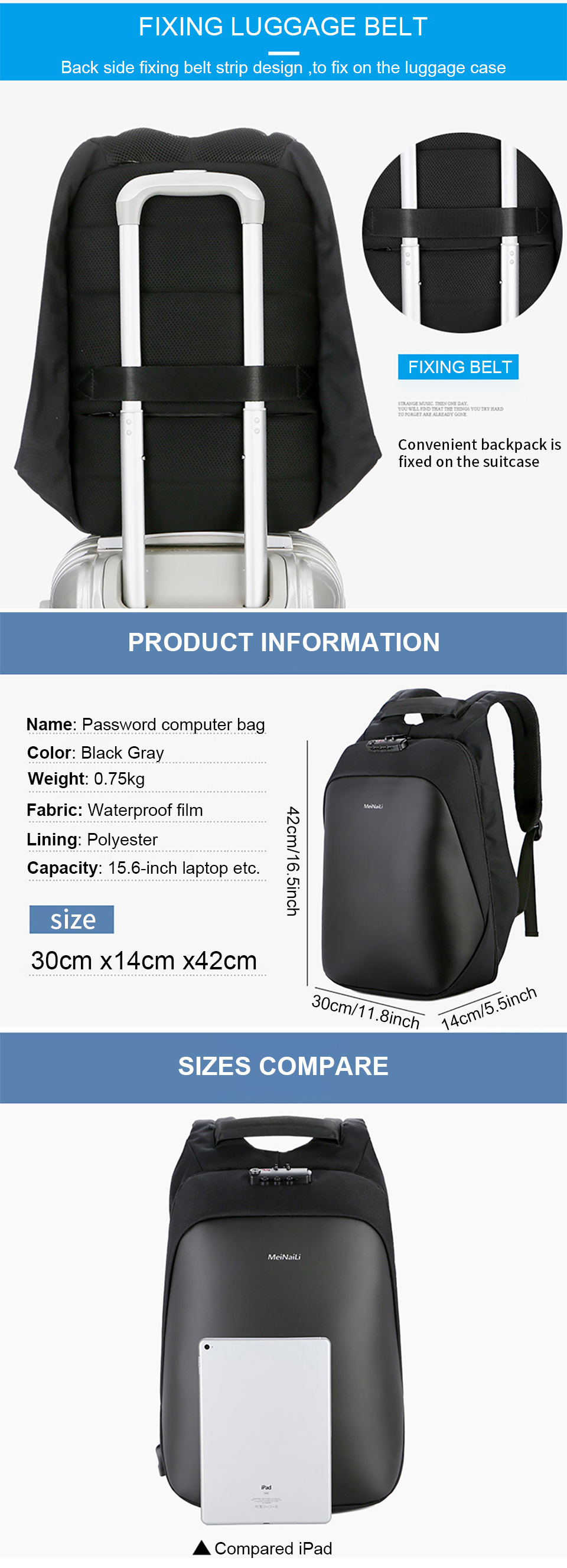 5 Anti Theft Backpacks Man Bag Large Capacity 15.6 Inch Laptop Notebook Backpack Business USB Back Pack Travel luggage Backpacking