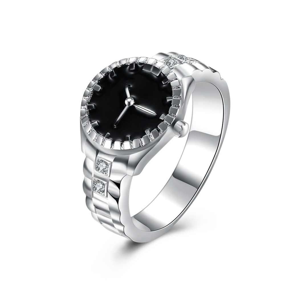 סיטונאי, חג המולד מתנה עבור נשים ליידי שעון סגנון טבעת יפה חתונה כסף צבע טבעת חמוד אופנה קלאסי תכשיטי R887