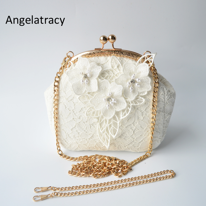 Angelatracy Handmade Bag Lace 3D Wedding White Flowers Crossbody Bag Sweet Mini Lady Purse Floral Lolita Pearl Beads Embroidery in Top Handle Bags from Luggage Bags