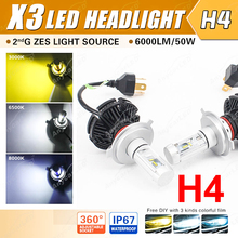 1 Set H4 HB2 9003 50W 6000LM X3 LED Headlight LUMILED 2nd ZES Chips 20SMD Fanless