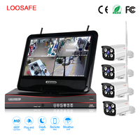 LOOSAFE WIFI Surveillance Cameras System NVR With Screen Security Kit 4CH 1080P HD Wireless Home CCTV
