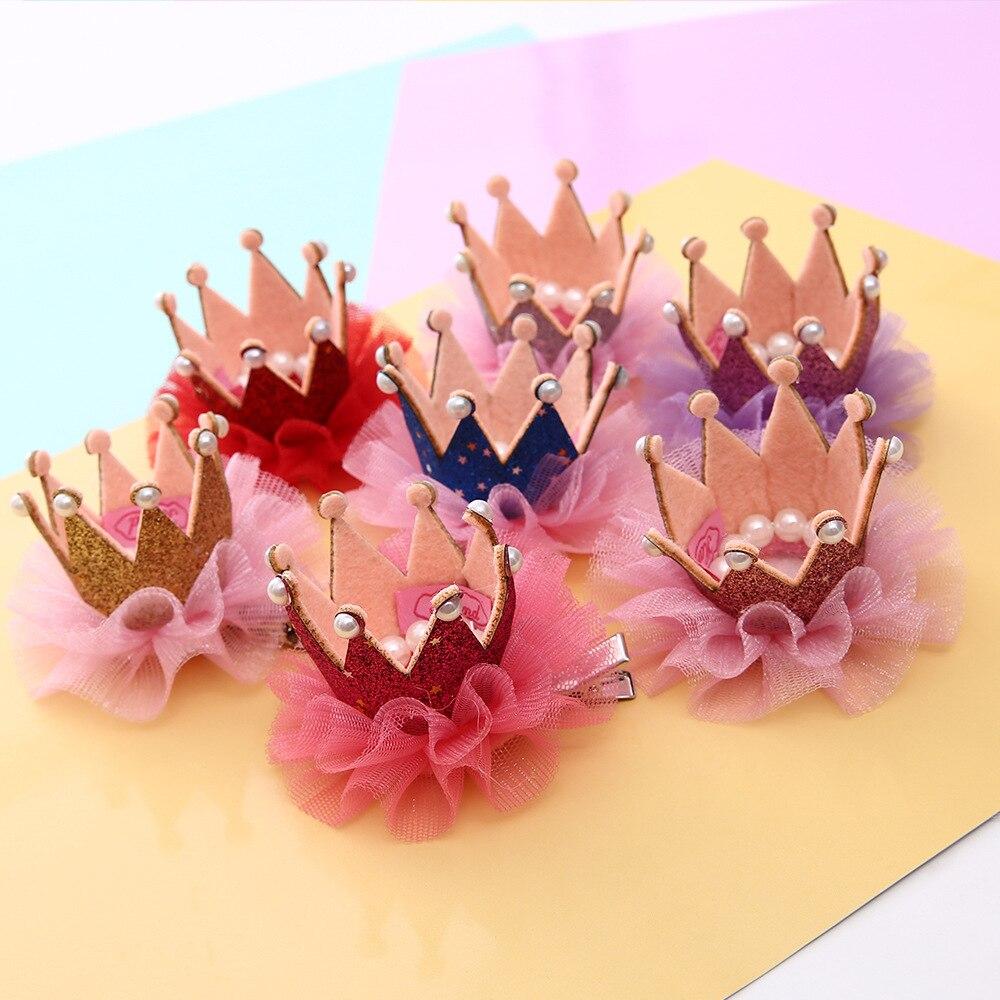 1 Pcs Girls Princess Crown Hair Barette Korean Childrens Hair C Baby Lace Hairpins Little Girl Pearl Side Chuck