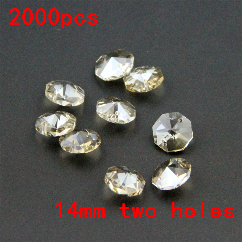 Top Quality 2000pcs 14mm Cognac Octagonal Beads In 2 Holes Crystal Chandelier Beads Glass Chandelier Part Crystal Prism Beads