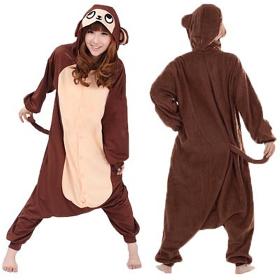 2016 Nuevo Invierno Unisex Fleece Animal Establece Pijama Homewear Pijamas Trajes de Cosplay Brown Mono Pijama Pijama Oneises|pajama sets|pyjama setpyjama costume - AliExpress