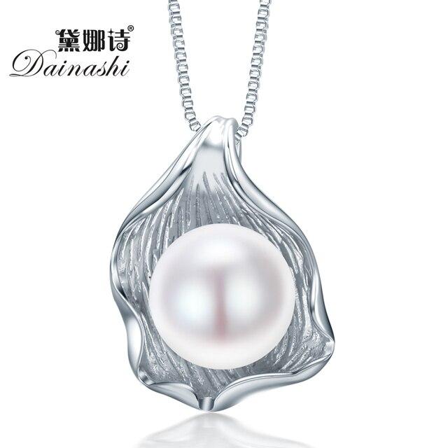 Dainashi Форма Оболочки Естественный Пресноводный Жемчуг Ювелирные Изделия Кулон Ожерелье для женщин стерлингового серебра 925 подвеска белый розовый фиолетовый