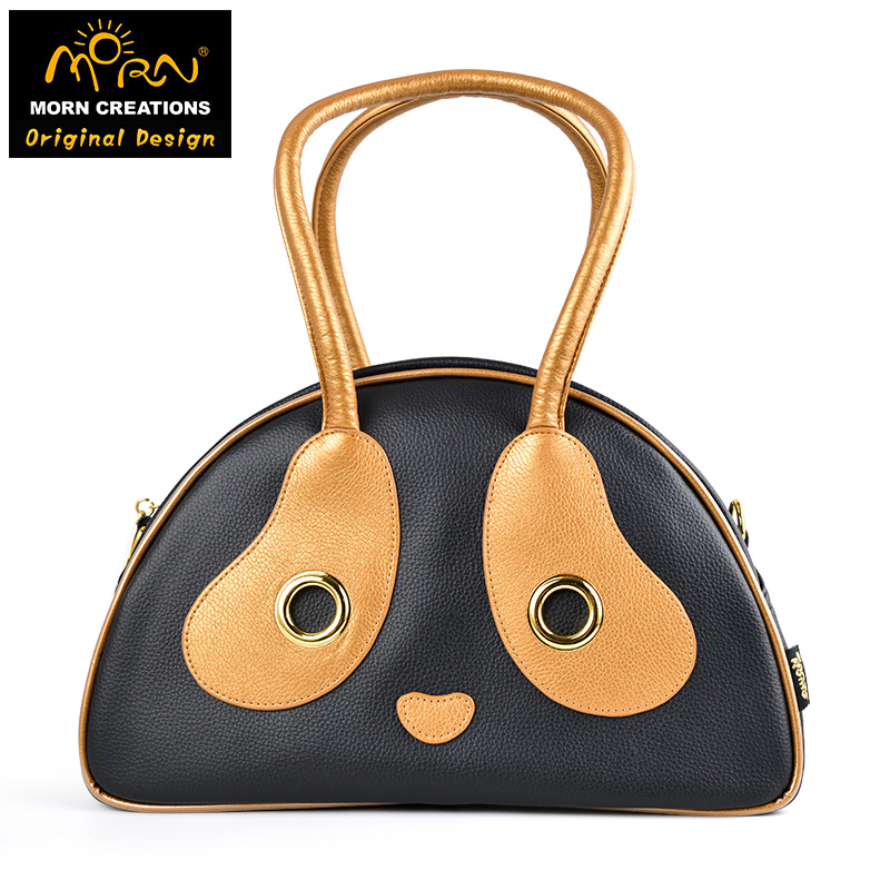 Morn Creations Original Design The Panda Style Casual Messenger Bags Black & Gold Panda Bag (M) morn creations hong kong original design soft handle panda backpack blue laptop school bags