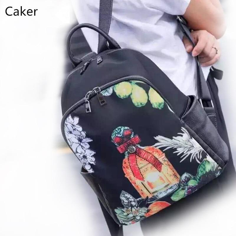 Caker Women Genuine Leather Blue Large Backpacks Female Waterproof Oxford Cartoon Printing School Bags For Teenagers