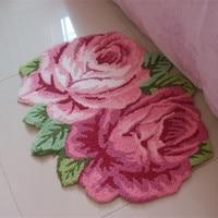 3D art rose tapis tapis 70*60 cm 125*65 cm tapis faits à la main pour salon chambre porte romantique décor tapete tapis alfombra huarache