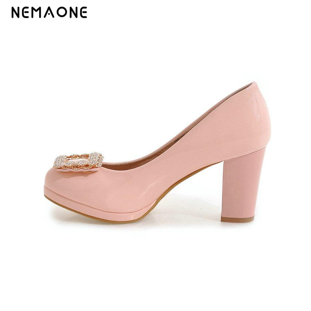 NEMAONE Shoes Women Mary Jane Pumps Hook Loop Thick Low Heels Square Toe 2017 Summer Lady Pearl Pumps Big Size 9 11