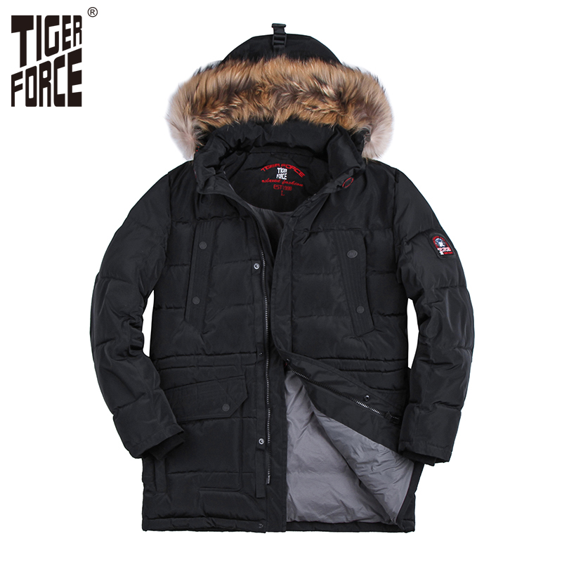 TIGER FORCE Hot Sale Men Fashion Padded Jacket Long Parka Winter Hooded Coat Parkas Raccoon Fur Collar Rib Cuff Free Shipping rib cuff zippered hooded coat