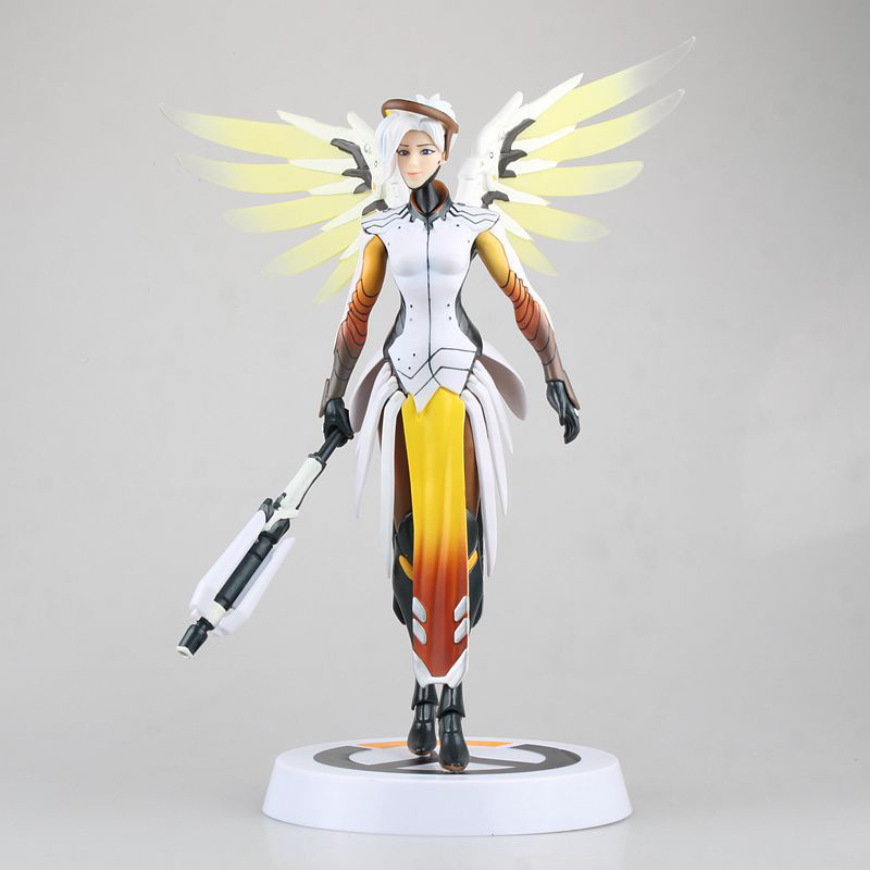 30CM OW Mercy Angela Ziegler action figure best kids toys for boys all characters tracer reaper widowmaker action figure ow game keychain pendant key accessories ltx1