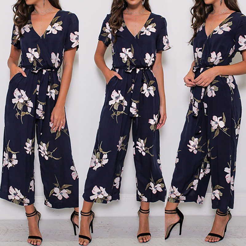 New Trendy Women Clothes Summer Party Flower Print   Jumpsuit   Short Sleeve Polyester V-neck Romper
