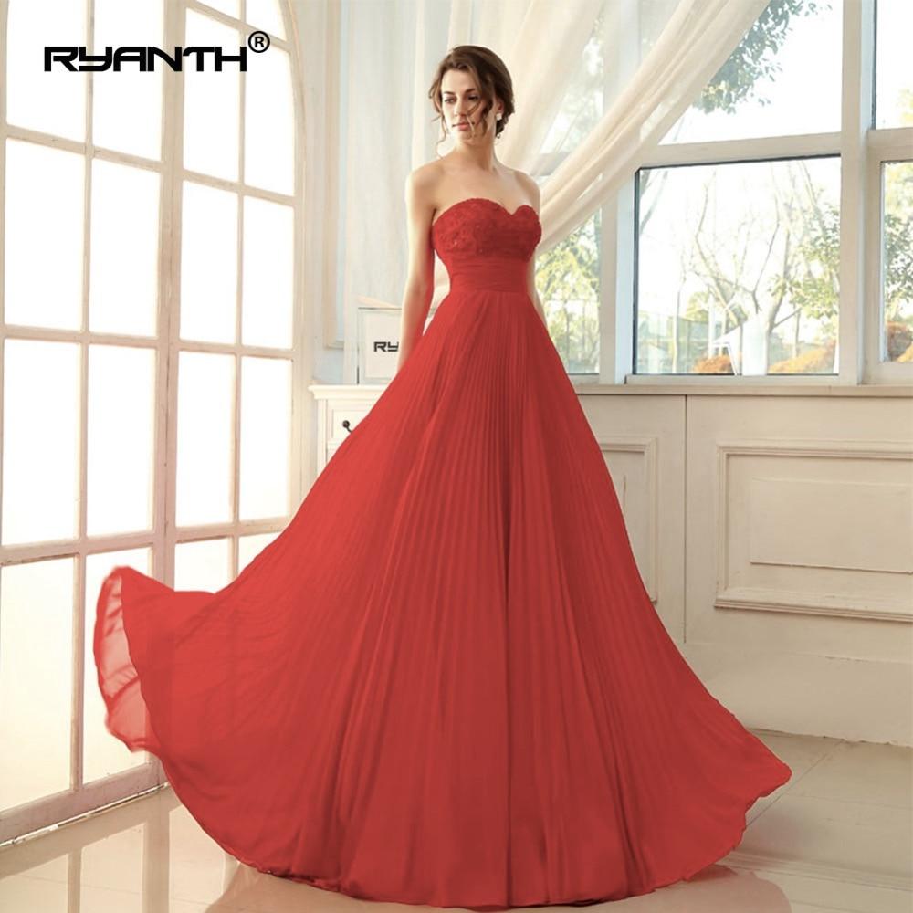 Ryanth Robe De soirée 2018 femmes rouge robes De soirée longue en mousseline De soie Robe formelle fête élégante chérie Simple robes De bal - 3