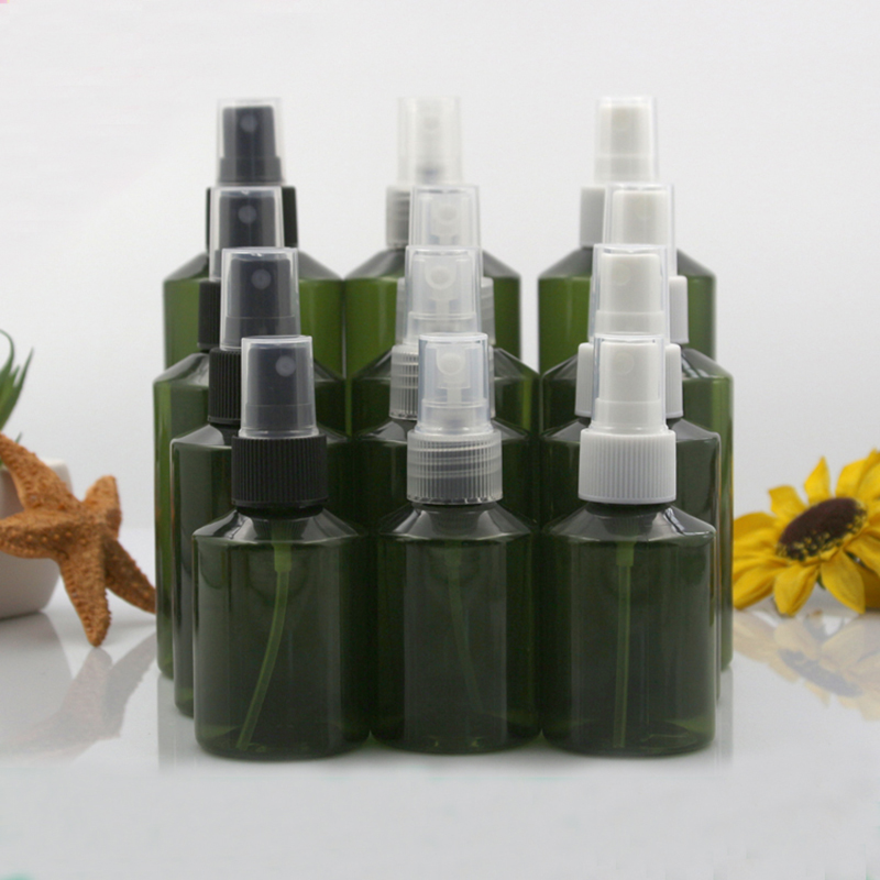 10pcs 50ml 100ml 150ml 200ml Plastic Dark Green Empty PET Spray Bottles with 3 Colors Sprayer Light Avoiding Mist Bottle Travel-0