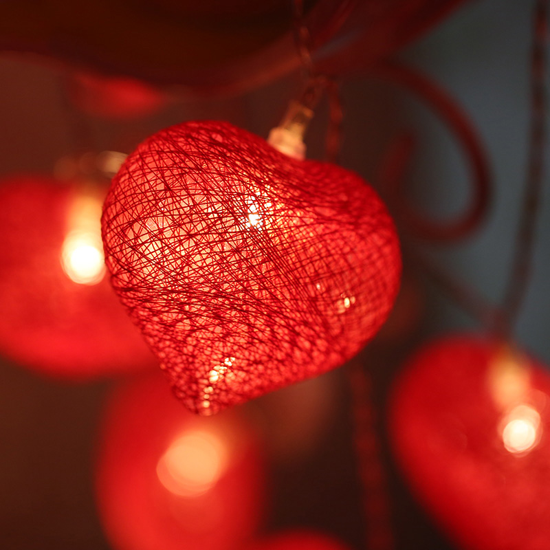 20Led Fairy Red Heart Shape Cotton Ball Battery Operated String Light 3m LED Decoration For Christmas Garland New Year Gerlyanda
