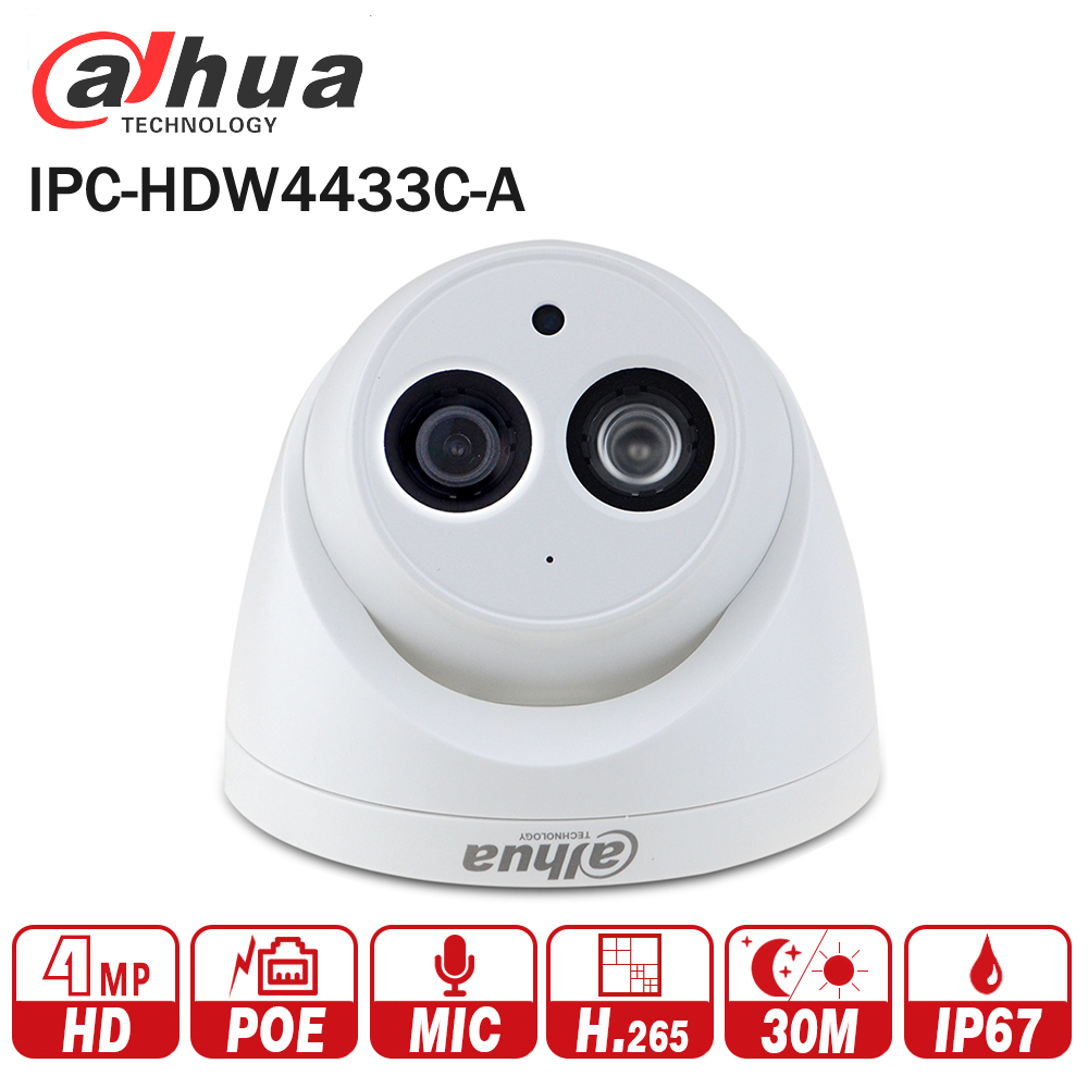 DaHua IPC-HDW4433C-A 4MP CCTV Camera POE Network IR Mini Dome IP Camera Starnight Built-in Micro Upgrade from IPC-HDW4431C-A