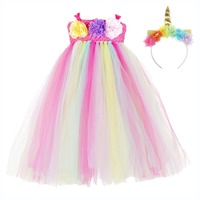 Pastel Pony Unicorn Surprise Toddler Girl Christmas Tutu Dress for Kids Ankle Length Easter Unicorn Dress Ball Gown Children Set
