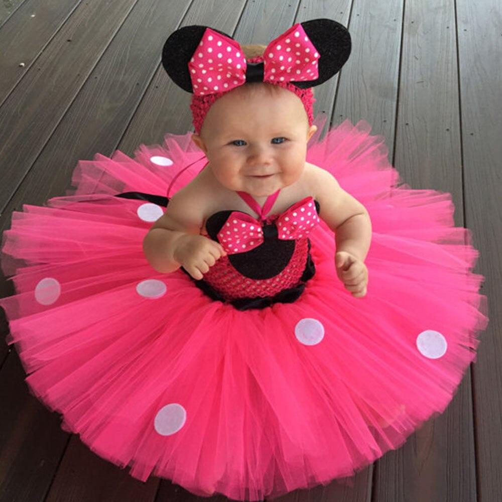 Comprar Rosa Minnie Mouse Vestido Con Lunares Niñas Cosplay