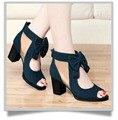 O envio gratuito de 2016 sapatas do verão das mulheres de salto grosso botas de salto alto do dedo do pé aberto frisado rendas botas legais gaze recorte sandálias
