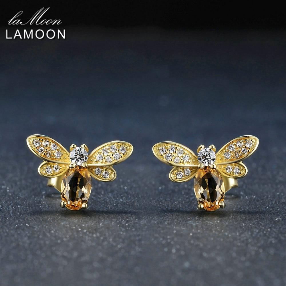 LAMOON Abeille 5x7mm 1ct 100% Naturel Citrine 925 sterling-argent-bijoux 14 k Jaune Or plaqué Stud S925 LMEI041