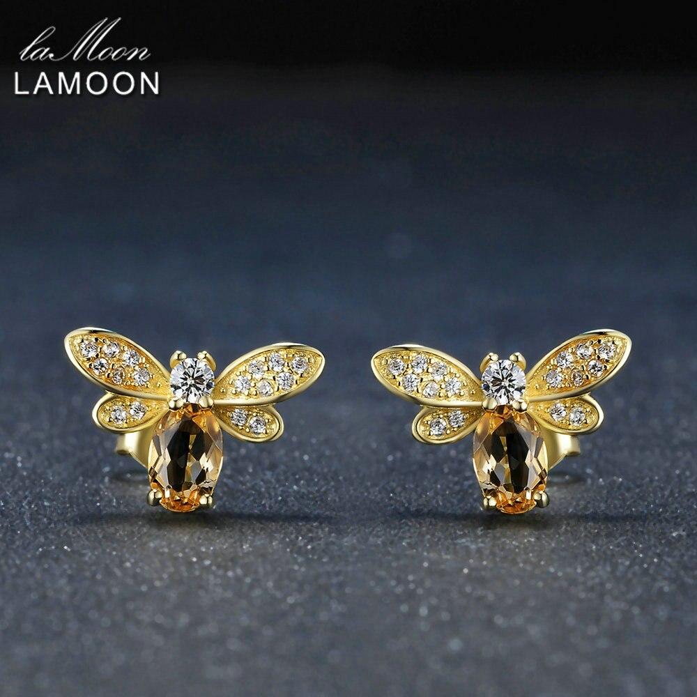 LAMOON Bee 5x7mm 1ct 100% Natural citrino de Plata de Ley 925-plata-joyería 14 K oro amarillo en pendiente S925 LMEI041