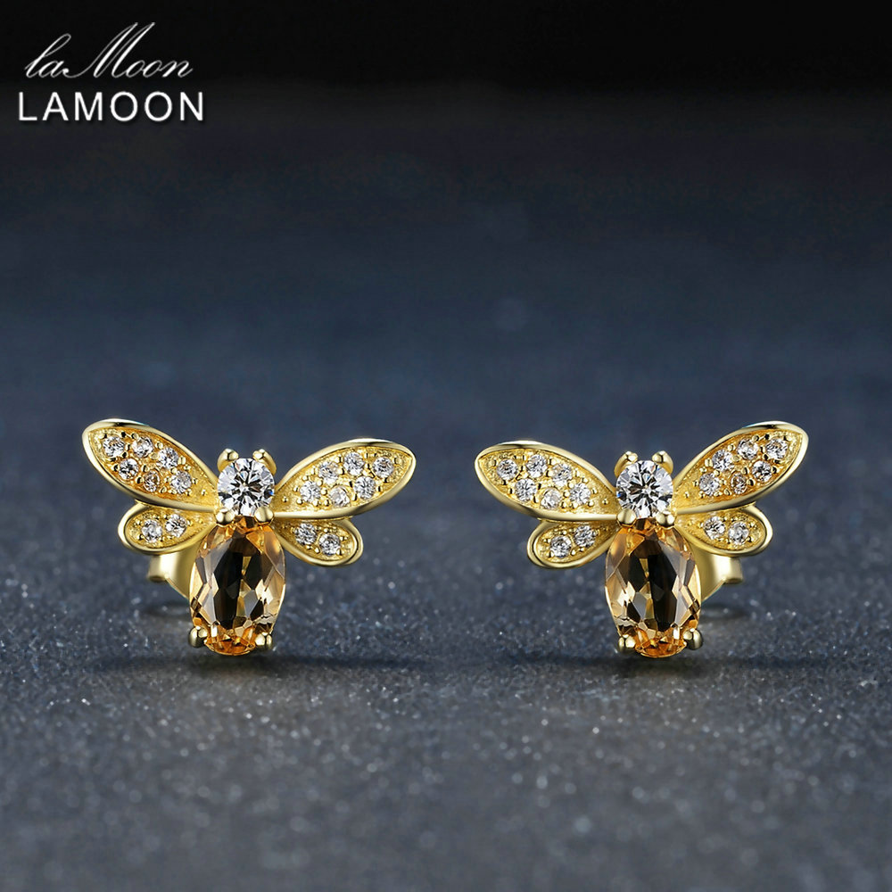 63f1ef927 LAMOON Stud Earring Citrine 925-Sterling-Silver-Jewelry-14k Gold-Plated  Yellow S925 Bee-6x4mm