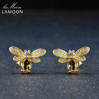 LAMOON Bee 5x7mm 1ct 100 Natural Citrine 925 Sterling Silver Jewelry 14K Yellow Gold Plated Stud