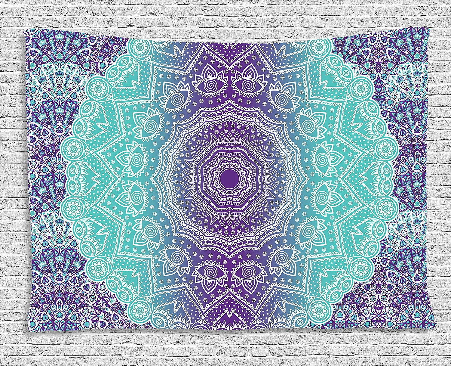Purple and Turquoise Tapestry Hippie Ombre Mandala Inner Peace and Meditation with Ornamental Art Wall Hanging for Living Room