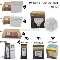 MiLight MR16 4W RGB CCT LED Bulb Spotlight FUT104 AC DC12V Full Color Remote Control Smart