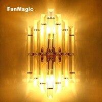 Роскошный пост современный настенный светильник металл/кристалл свет отель спальня прикроватные бра настенное освещение коридоров соврем