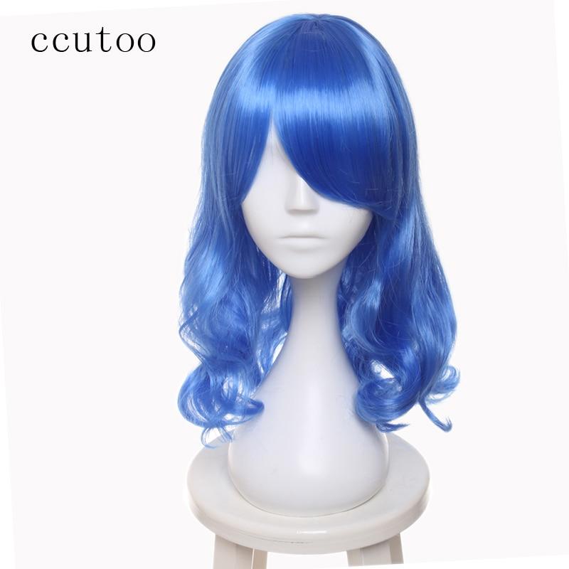 Cukta Fairy Tail Juvia Lockser Rainmaiden 45cm Blå Curly Högtemperatur Fiber Syntetisk Hårparty Cosplay Fulla Pärlor