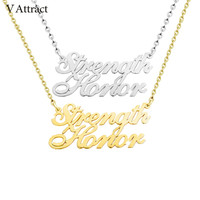 V Attract Stainless Steel Custom Two Names Necklace Personalized Jewelry Multiple Name Choker Friendship Gift Fashion