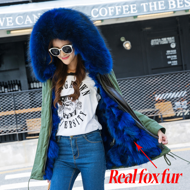 Winter Jacket Women Army Green Parka Coats Real Large Raccoon Fur Collar Patch Fox Lining Hooded Outwear