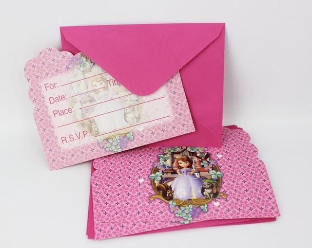 6pcs Envelop Shape Princess Sofia Theme Party Invitation Card Kids Baby Birthday Festival