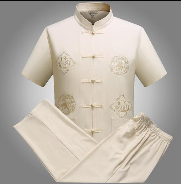 中国チュニックスーツ男性のスーツセットでパンツ唐スーツセット夏半袖薄い歳ヴィンテージ男性ブレザーベージュ赤
