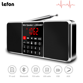 Lefon Digital Portable Radio AM FM Bluetooth Speaker Stereo MP3 Player TF/SD Card USB Drive Handsfree Call LED Display Speakers