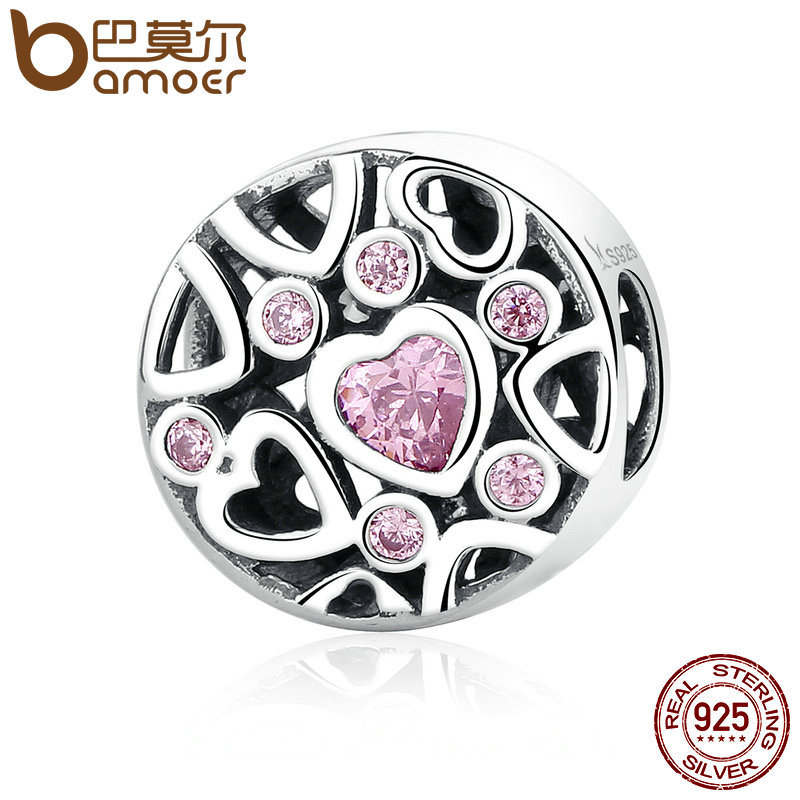 BAMOER High Quality 925 Sterling Silver Pink Stone Heart to Heart Beads Charms fit Women Bracelets & Necklaces Jewelry SCC054BAMOER High Quality 925 Sterling Silver Pink Stone Heart to Heart Beads Charms fit Women Bracelets & Necklaces Jewelry SCC054