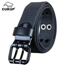 CUKUP New Unisex Thickened Weaves Canvas Leisure Belt Double Pins Buckles Metal Belts Many Color Options Accessories CBCK124