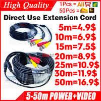 Venta al por mayor 5m 10m 15m 20m 30m 50m vídeo + potencia HD cobre Cámara extender extensión de cables con Cable BNC + DC 2in1 de dos pulgadas