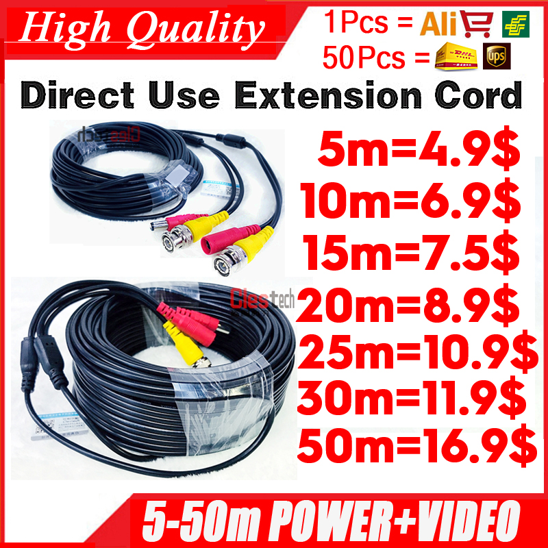 Wholesale 5m 10m 15m 20m 30m 50m Video+power HD Copper Camera Extend Wires Extension Extension With BNC+DC 2in1 Two In Cable