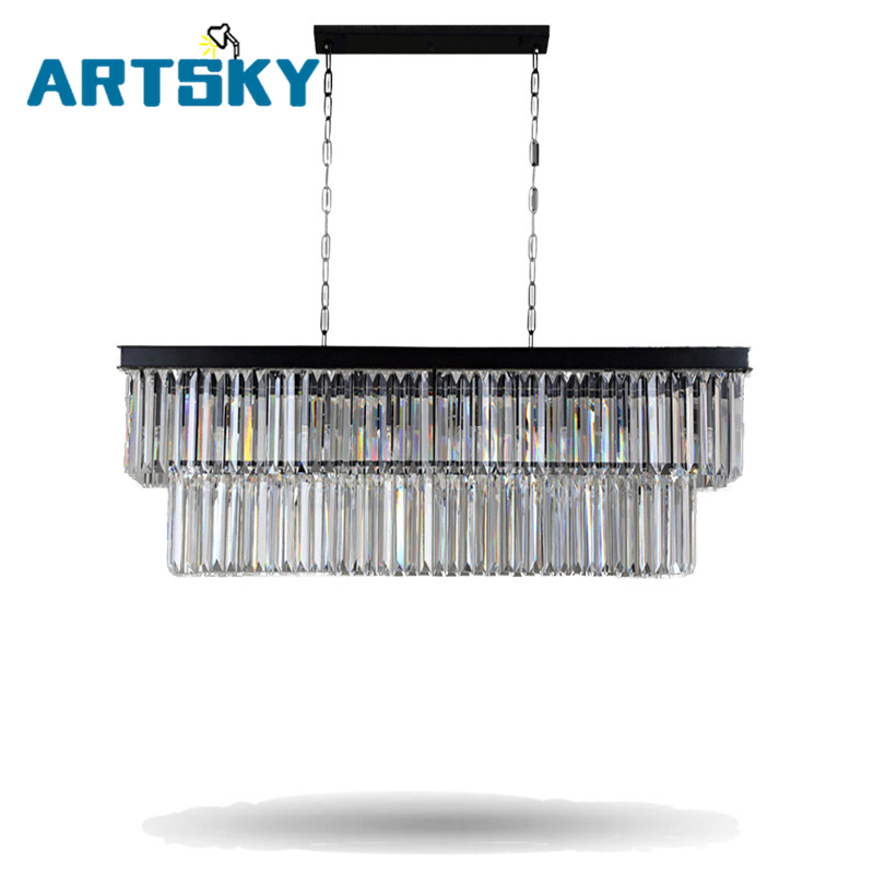 American European- Style Crystal Pendant Lights Iron Rectangular Creative Living Room Restaurant Pendant Lamps american country crystal pendant lights european style living room modern bedroom restaurant candle iron lamps lu809182t107