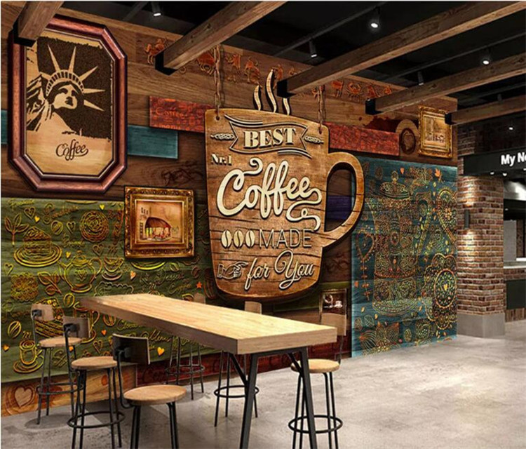 Home Improvement Wallpapers Efficient Custom Food Store Wallpaper,wood Pattern Coffee,3d Retro Mural For The Restaurant Cafe Hotel Background Wall Pvc Wallpaper Sturdy Construction