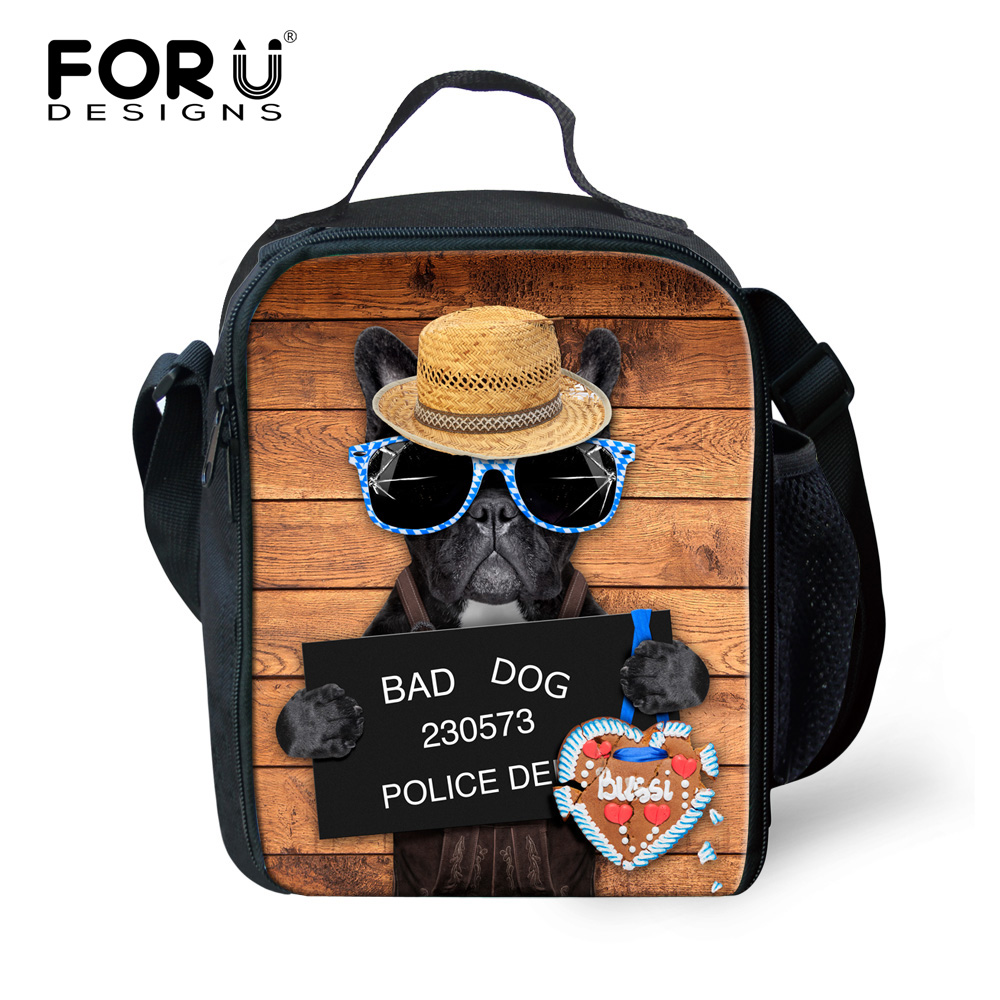 FORUDESIGNS Cute Animal Dog Print Lunch Bags Thermo Insulated Lunch Bag for Women Men Kids Thermal Bag Food Travel Picinic Tote