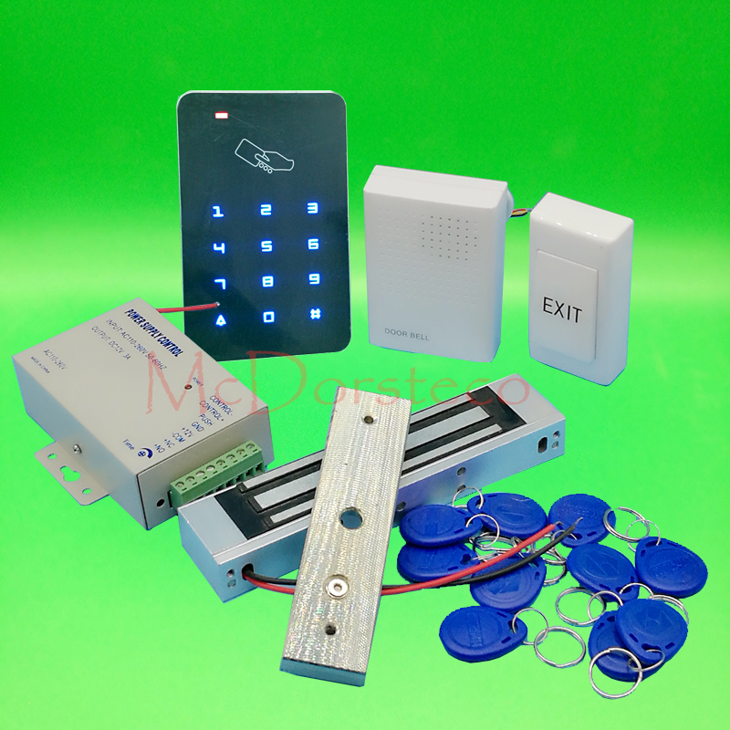 DIY Touch Keypad Access Control Complete 125khz Rfid Door Access control system 350lbs Electric Magnetic Lock +Power supply digital electric best rfid hotel electronic door lock for flat apartment