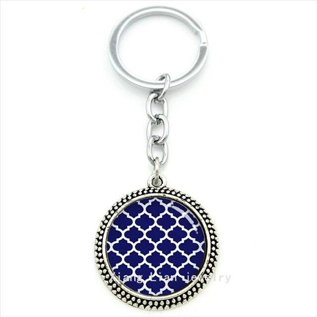 5c577d6e34e05 Dzieła ślub akcesoria breloczek Marokański Quatrefoil Granatowy Biały  quatrefoil art wisiorek klucz uchwyt bride biżuteria T458