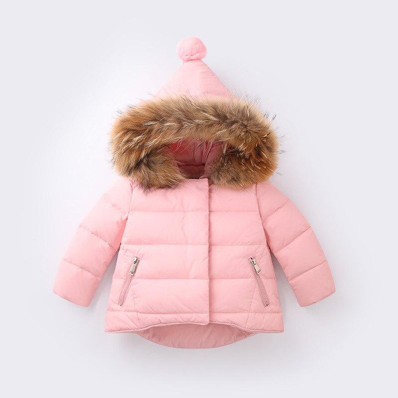 2017 New Baby Girls Winter Jacket Coat Thickened Down Jacket For Girl Real Fur Coats Children Warm Outerwear 3 5 7 9 10 Years new 2016 baby down coats set baby down jacket suspenders girl