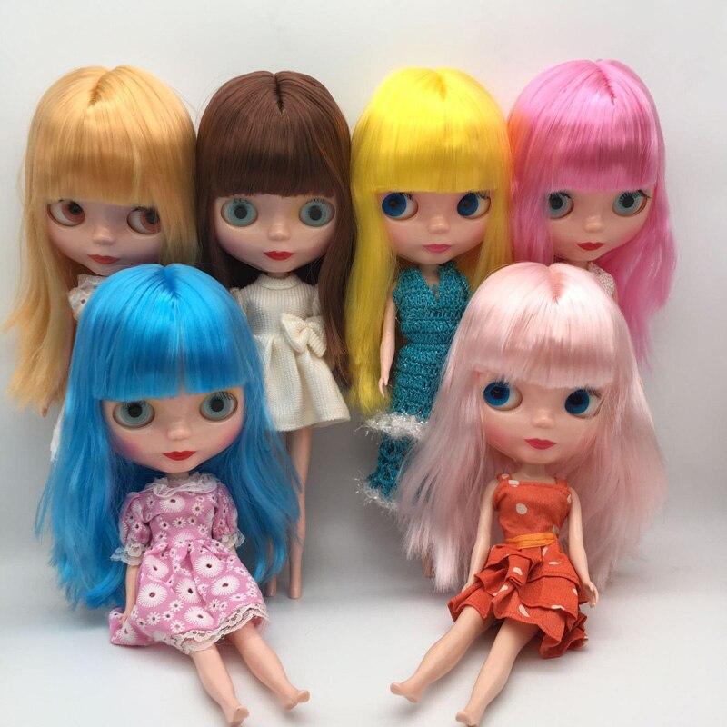 Envío Gratis barato RBL NO.1-7 DIY desnudo Blyth muñeca regalo de cumpleaños para Niñas 4 colores grandes ojos muñecas con hermoso pelo lindo juguete