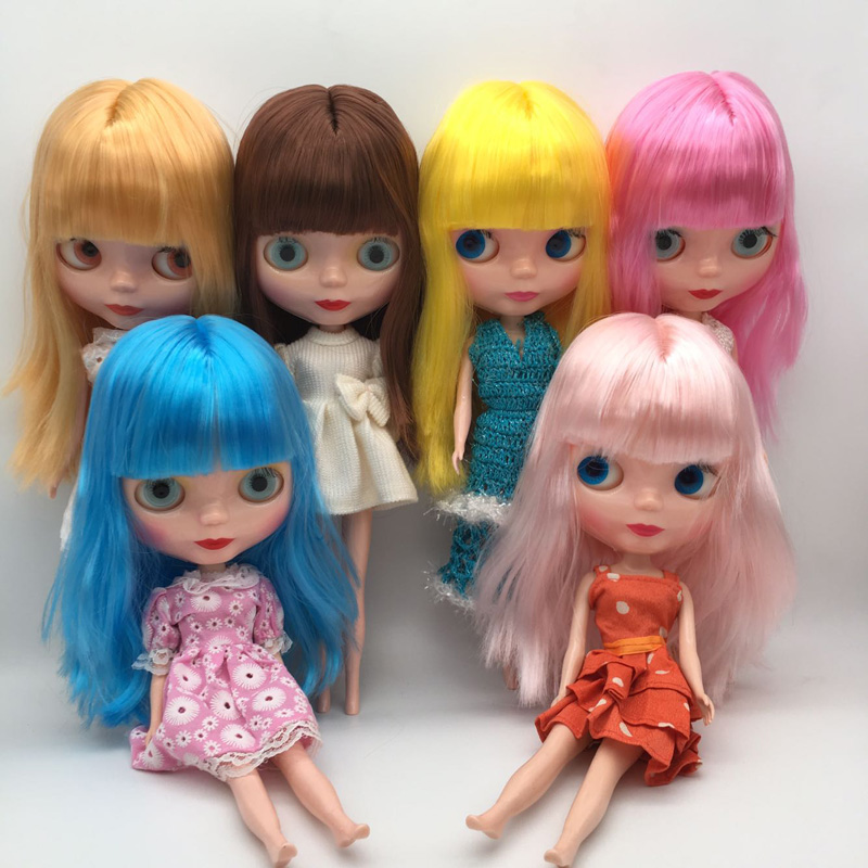 Free Shipping cheap RBL NO.1-7 DIY Nude Blyth doll birthday gift for girls 4 colour big eyes dolls with beautiful Hair cute toy