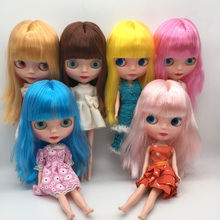 Free Shipping cheap RBL NO.1-7 DIY Nude Blyth doll birthday gift for girls 4 colour big eyes dolls with beautiful Hair cute toy цена