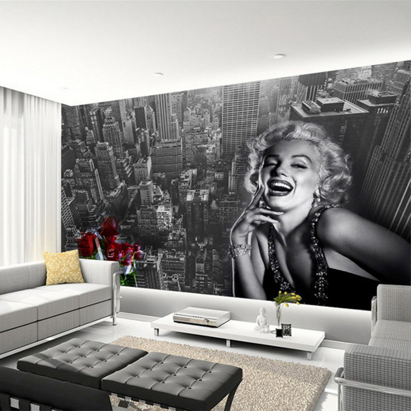 Modern Simple Black And White Building Marilyn Monroe Photo Wallpaper Living Room Restaurant Shopping Mall Decor Mural 3D Fresco